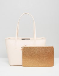 Ted Baker Small Leather Crosshatch Tote Bag With Rose Gold Pouch Straw Yellow
