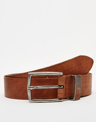 River Island Leather Belt With Chunky Silver Tone Buckle Lightbrown