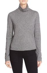 See By Chloe Women's Sheer Back Long Sleeve Turtleneck Sweater Grey