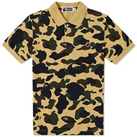 A Bathing Ape 1St Camo Head One Point Polo Yellow