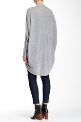 Sweet Romeo Open Front Mesh Stitch Cardigan Gray