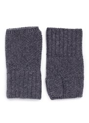 Ish Cashmere Knit Fingerless Gloves Grey