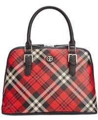 Giani Bernini Plaid Dome Satchel Only At Macy's Red Multi