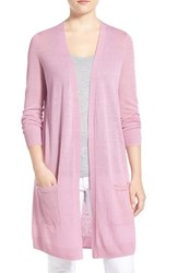 Women's Halogen Long Linen Blend Cardigan Purple Fragrant