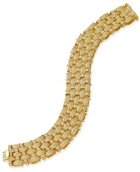 Macy's Woven Link Bracelet In 14K Gold Plated Sterling Silver Yellow Gold