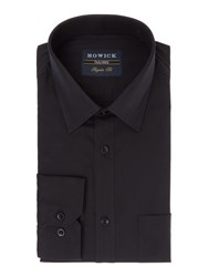 Howick Bermont Single Cuff Cutaway Collar Poplin Shirt Black