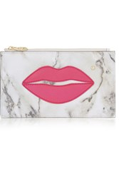 Charlotte Olympia Pouty Appliqued Leather Pouch Off White