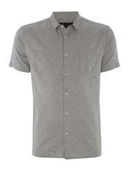 Label Lab Faro Washed Herringbone Shirt Light Grey