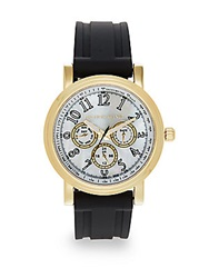 Saks Fifth Avenue Goldtone Finished Stainless Steel Strap Watch Gold Black