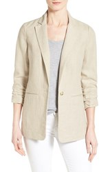Women's Michael Michael Kors Linen Shirred Sleeve Boyfriend Jacket Hemp