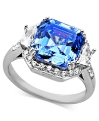Arabella Sterling Silver Ring Blue And White Swarovski Zirconia Princess Cut Ring 10 Ct. T.W.
