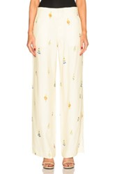 Victoria Beckham Drape Viscose Wide Leg Earring Print Trousers In Yellow