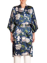 Adam By Adam Lippes Floral Silk Kimono Jacket Blue Floral