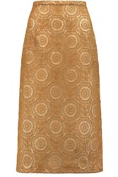 Rochas Guipure Lace Midi Skirt Brown