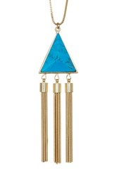 14Th And Union Triangle Stone Tassel Pendant Necklace Blue