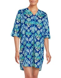 Karen Neuburger Cotton Sleepshirt Blue Floral