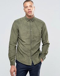 Solid Button Down Chord Shirt In Oil Wash Kahki 3784 Green