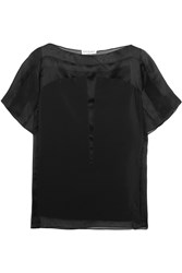 Vionnet Paneled Silk Crepe De Chine And Organza Top Black