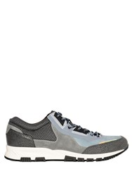 Lanvin Suede And Grained Leather Running Sneakers