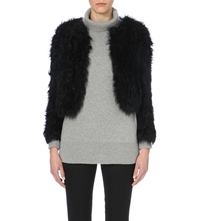 Whistles Cropped Shearling Jacket Black