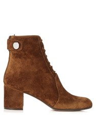 Gianvito Rossi Finlay Lace Up Suede Ankle Boots Dark Tan