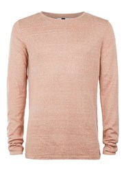 Topman Pink Slub Long Line Crew Neck Jumper