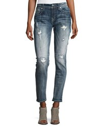 Miss Me Skinny Embroidered Denim Jeans Dark Blue