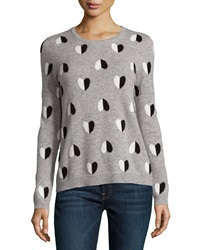 Neiman Marcus Heart Print Crew Neck Cashmere Sweater Heather Gray Black Ivory