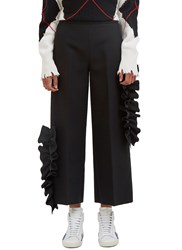 Msgm Ruffled Wide Leg Cropped Pants Black