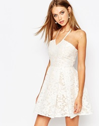 Missguided Lace Halter Skater Dress Offwhite