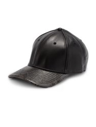 Gents Embossed Leather Cap Black