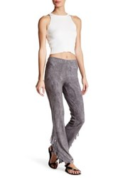 Angie Faux Suede Fringe Bell Pant Gray