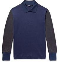 Issey Miyake Men Colour Block Wool Sweater Navy