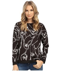 Kensie Sketchy Owls Sweatshirt Ks1k3894 Black Women's Sweatshirt