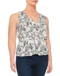 Bb Dakota Plus Patterned Peplum Blouse White