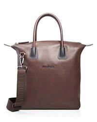 Salvatore Ferragamo Antiqued Icaro Tote Marrone