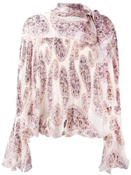 See By Chloe Paisley Print Scalloped Blouse Nude Neutrals