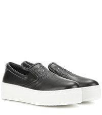 Kenzo Platform Leather Slip On Sneakers Black