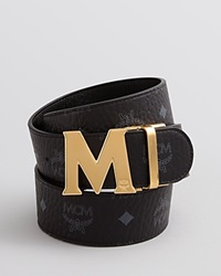 Mcm Reversible Gold M Belt Black Viestos