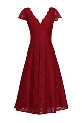 Jolie Moi Cap Sleeve Lace Prom Dress Red