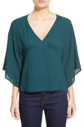 Leith V Neck Kimono Sleeve Top Green