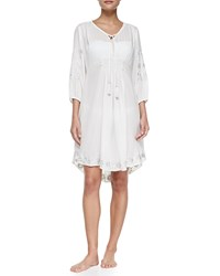 Letarte Embroidered Hawaiian Tunic Coverup Pearl White
