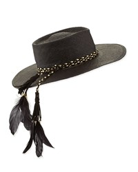 Gladys Tamez The Talitha Panama Straw Hat W Feathers Black Size Medium