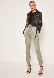 Missguided Green Pocket Detail Cuffed Satin Joggers