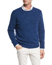 Loro Piana Girocollo Cashmere Tweed Cable Sweater Blue Depths Blue Depths Light