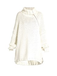 Marques Almeida Roll Neck Oversized Cotton Blend Sweater White