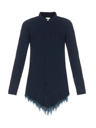 Simon Miller Cotton Frayed Hemline Shirt Indigo