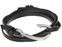 Miansai Silver Hook On Leather Bracelet Black Bracelet