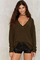 True Nature V Neck Sweater Green