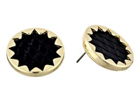 House Of Harlow Sunburst Button Stud Earrings Gold Tone Black Leather Earring
